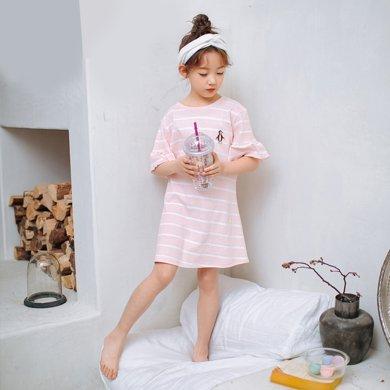 領秀范兒女童睡衣裙長袖春季純棉小女孩親子睡裙母女長袖兒童睡裙短袖夏季SQ037