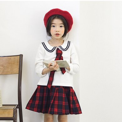 詩茵童裝2018春季新款韓版女童長袖海軍上衣+兒童格子短裙子17W107