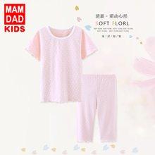 爸妈亲儿童套装纯棉 女童短袖短裤两件套女宝宝家居服空调服内衣套装86207