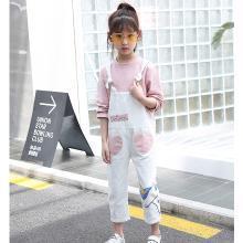 ocsco 春秋装新款女童套装韩版背带裤+长袖上衣时尚休闲中大童两件套女