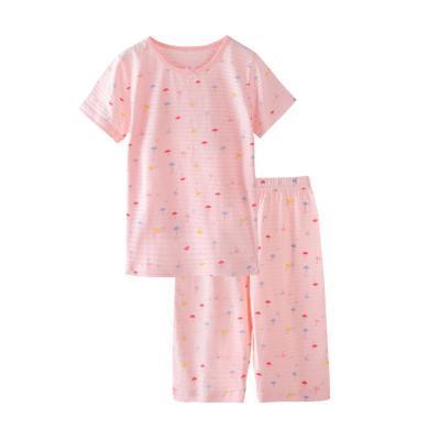 爸媽親兒童純棉夏季睡衣家居服男女童3-11歲短袖7分褲睡衣套裝86270