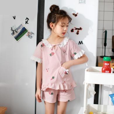 領秀范兒春夏兒童睡衣女童家居服純棉小孩短袖寶寶薄款女孩空調服套裝夏季X057