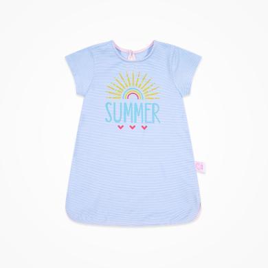 丑丑嬰幼 女寶寶條紋短袖針織連衣裙 夏季女童卡通可愛連衣裙1-4歲 CNE363X