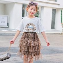 宁可缘2019新款女童夏季套装韩版童装中大童洋气短袖豹纹蛋糕裙两件套潮19032802