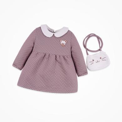 丑丑婴幼 女宝宝长袖翻领卡通连衣裙春秋新款女童可爱娃娃裙衣 CNE365X