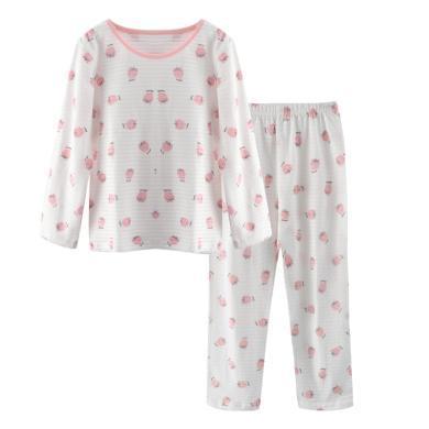 爸媽親兒童長袖長褲純棉家居服夏天薄款透氣男童女童睡衣夏寶寶空調服86263