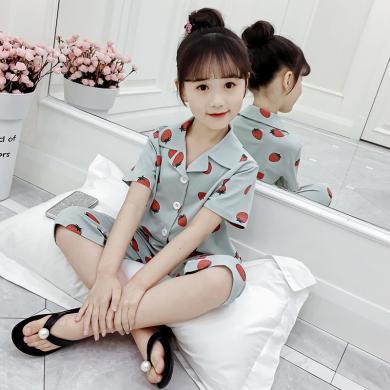 美純衣天使女童夏款夏款睡衣短袖七分褲套裝居家服睡衣開衫MC蘋果印花睡衣
