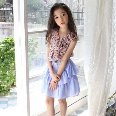 詩茵女童雪紡花邊碎花上衣+半身裙子套裝甜美韓版童裝親子裝81023-81022