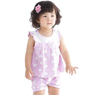 丑丑婴幼女童可爱背心套装夏季新款女宝宝卡通无袖套装 6个月-3岁 CFE750T