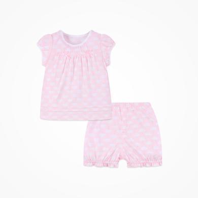 丑丑嬰幼 女寶寶純棉短袖肩開套裝夏季女童圓領內衣家居服套裝1-2歲  CJD731X