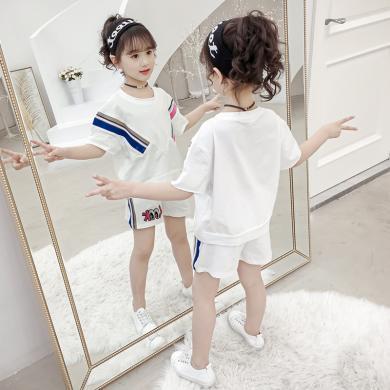 美純衣天使女童2019年夏季夏裝短袖短褲套裝運動棉兩件套MC-LOOK 套裝