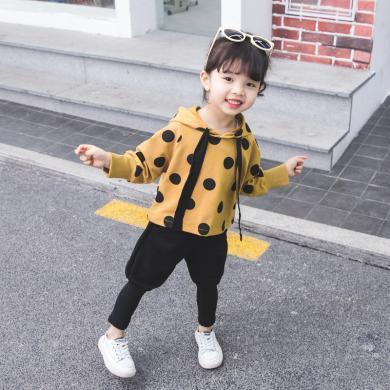 美純衣天使女童2019新款休閑童套裝秋裝中小童圓點織帶兩件套PWY-ST圓點織帶套