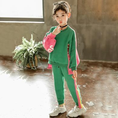 瀾囝囡 2019新款韓版春秋時尚女孩運動大兒童洋氣兩件套  綠粉運動套裝