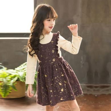 謎子 童裝套裙春秋新款韓版時尚中大童兩件套女童套裝洋氣連衣裙+打底衫