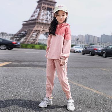 謎子 女童套裝秋季新款休閑運動童裝兩件套12-15歲中大童衛衣+長褲時尚穿搭