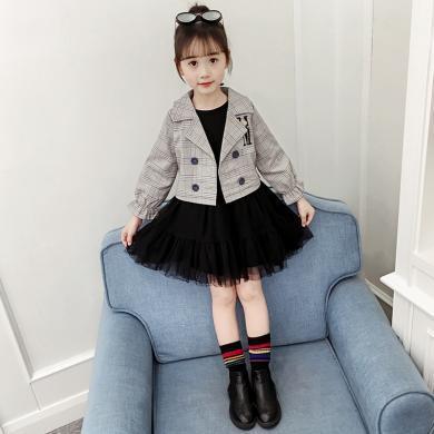 寧可緣2019新款女童秋裝套裝韓版童裝中大童潮西服外套長袖網紗裙兩件套19082610