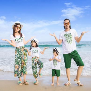 ocsco 親子套裝夏裝新款海邊度假沙灘服全家裝短袖兩件套家庭裝
