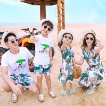 ocsco 新款沙灘海邊親子套裝夏季母女雪紡連衣裙卡通螞蟻印花短袖套裝家庭裝