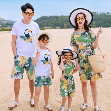 ocsco 新款夏季親子套裝沙灘服短袖套裝海邊度假母女裝連衣裙家庭裝