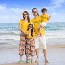 ocsco 新款沙灘服海邊親子套裝夏季圓領短袖套裝家庭裝度假全家裝