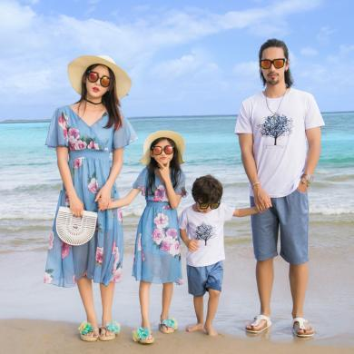 ocsco 沙灘服親子套裝新款夏裝休閑海邊度假母女連衣裙短袖套裝家庭裝