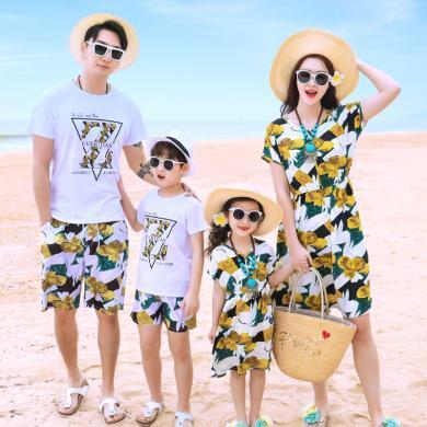 ocsco 夏季親子套裝新款沙灘度假短袖套裝母女連衣裙家庭裝