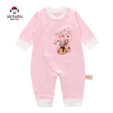 班杰威爾新生兒純棉春夏寶寶內衣哈衣初生嬰兒連體衣服