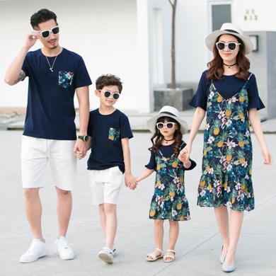 ocsco 夏季新款時尚印花短袖親子裝夏日海邊沙灘度假休閑家庭套裝
