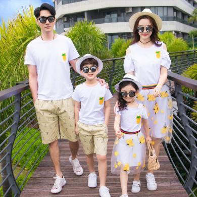 ocsco 親子套裝夏季新款海邊沙灘度假休閑時尚印花刺繡菠蘿家庭套裝