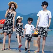 ocsco 夏季新款沙灘服親子套裝休閑海邊度假短袖時尚印花家庭裝