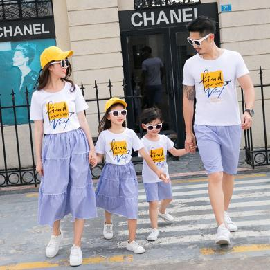 ocsco 亲子装夏季新款家庭套装时尚显瘦半身裙子短袖短裤两件套