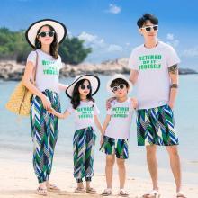 ocsco 親子套裝夏季新款時尚印花休閑沙灘海邊度假旅游短袖家庭裝