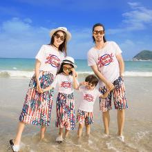 ocsco 夏季新款親子裝時尚休閑度假沙灘印花短袖T恤裙子家庭套裝