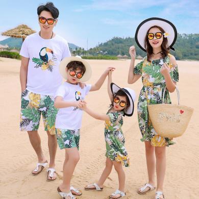 ocsco 家庭套裝夏季新款親子裝短袖休閑海邊度假時尚印花沙灘服