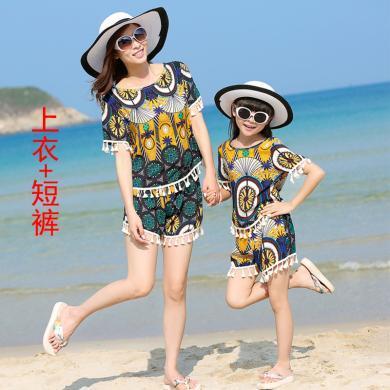 ocsco 夏季新款民族風母女套裝寬松休閑海邊沙灘度假親子裝兩件套女