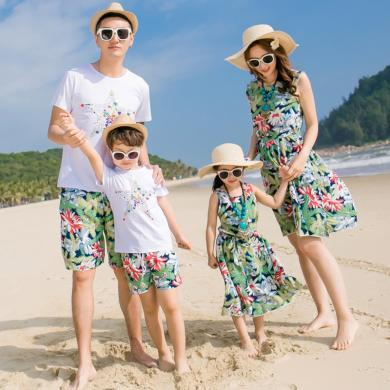 ocsco 夏季新款休閑度假沙灘親子裝時尚碎花短褲連衣裙家庭套裝