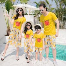 ocsco 夏季新款時尚印花親子套裝休閑度假海邊沙灘服短袖家庭裝