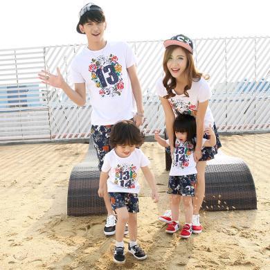 ocsco 家庭装夏季新款时尚印花短袖亲子套装休闲度假沙滩服两件套