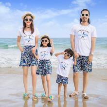 ocsco 夏季新款沙灘服親子套裝時尚印花短袖海邊休閑度假家庭裝