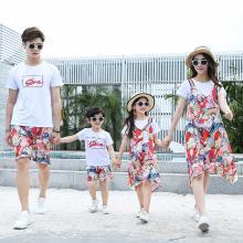 ocsco 親子裝夏季新款時尚碎花母女裝兩件套裙子休閑旅游度假家庭套裝