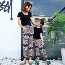 ocsco 母女親子套裝夏季新款波西米亞印花長褲+短袖T恤兩件套女