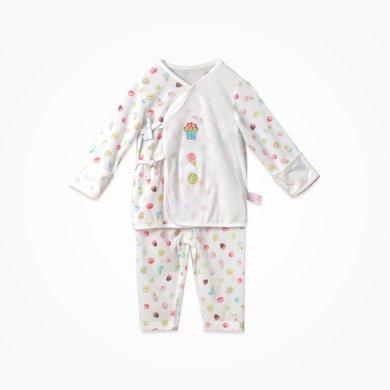 丑丑婴幼童装内衣套装春季新款0-1岁男女宝宝纯棉绑带内衣家居服