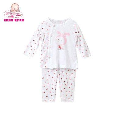 丑丑嬰幼春季新款男女寶寶0-2歲卡通純棉斜開內衣家居服套裝