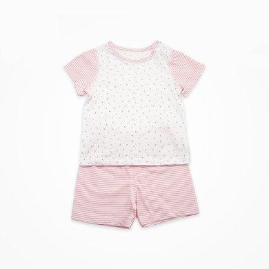 丑丑嬰幼夏季新款男女寶寶1-3歲肩開純棉短袖內衣家居服套裝CHD725X