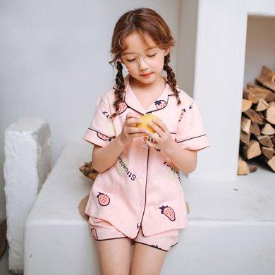 领秀范儿儿童睡衣女夏季纯棉套装薄款短袖宝宝小女孩公主女童家居服夏天XX030