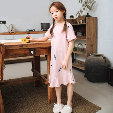 領秀范兒兒童睡衣女童睡裙夏季薄款短袖純棉女孩韓版公主中大童親子連衣裙 SQ040