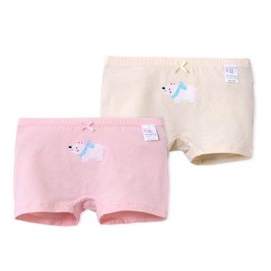爸媽親女童兒童內褲棉萊卡平角內褲寶寶面包褲三角內褲棉兩條裝86330 86333