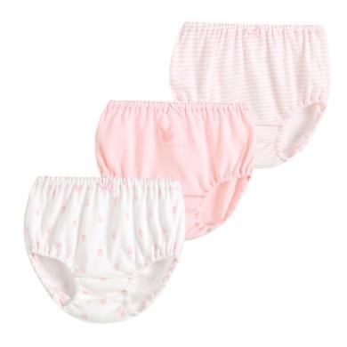 爸媽親兒童內褲全棉寶寶三角內褲女童面包褲夏天透氣寶寶內褲三條裝88417