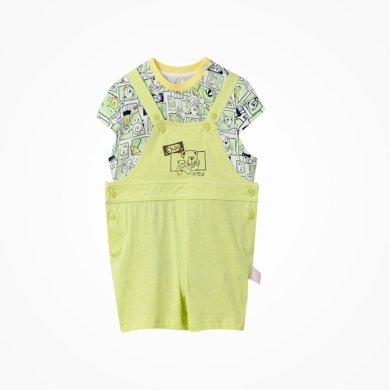 丑丑嬰幼男童套裝夏季新款1-2歲男寶寶背帶褲針織兩件套外出套裝