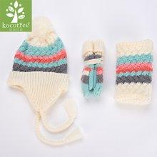 kk树新款秋冬宝宝帽子围脖套装冬儿童帽子围巾手套三件套一体保暖  KQ16114   包邮